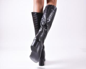Дамски ботуши естествена кожа черни BXMA-22374