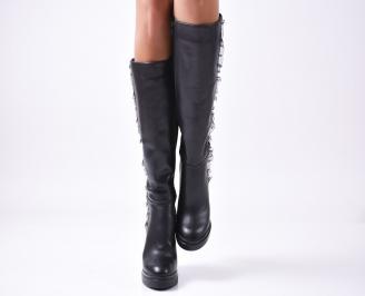 Дамски ботуши естествена кожа черни BCRA-22375