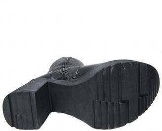 Дамски ботуши естествена кожа черни UAFW-22681