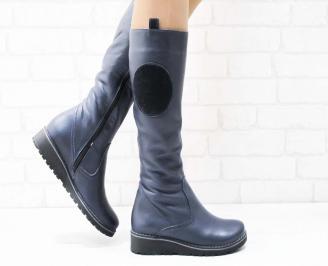Дамски ботуши естествена кожа тъмно сини MQOL-22689