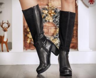 Дамски  ботуши естествена кожа черни BLZQ-22703