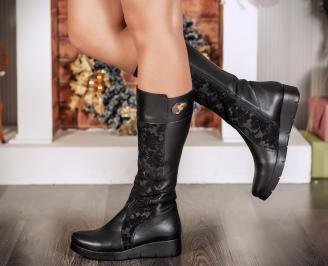 Дамски ботуши естествена кожа черни BLOC-22715