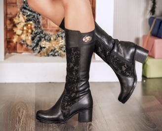 Дамски ботуши естествена кожа черни QSXL-22723
