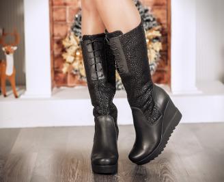 Дамски ботуши естествена кожа черни CTRQ-22729