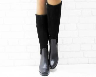 Дамски ботуши естествена кожа черни EKHC-22737