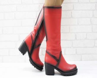 Дамски ботуши естествена кожа червени ZHIJ-25193