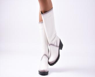 Дамски ботуши естествена кожа бели QDSL-25215