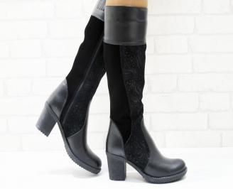 Дамски ботуши естествена кожа черни CBRI-25262