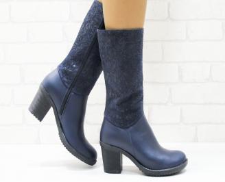 Дамски ботуши естествена кожа сини YCRD-25263