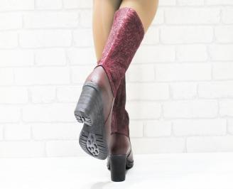 Дамски ботуши естествена кожа червени PZGG-25266