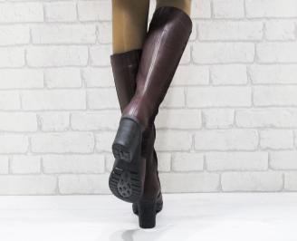 Дамски ботуши естествена кожа бордо XXKH-25486