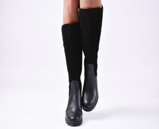 Дамски ботуши естествена кожа/велур черни IVHM-25487