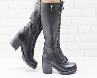 Дамски ботуши естествена кожа черни VRXM-25512