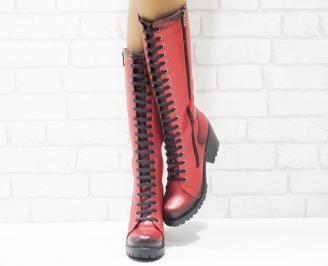 Дамски ботуши естествена кожа червени QCYU-25515