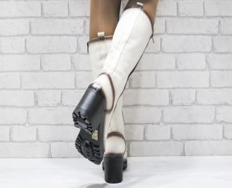 Дамски ботуши естествена кожа бежови NTBY-25524