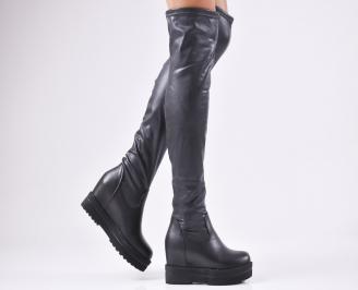 Дамски  ботуши на платформа  черни еко кожа HOUR-1010363