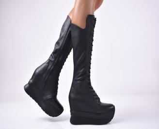 Дамски ботуши на платформа естествена кожа черни SCQE-1012954