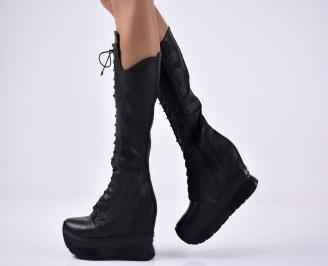 Дамски  ботуши  на платформа естествена кожа черни SMUT-1014515