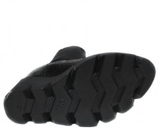Дамски ботуши на платформа естествена кожа черни OXLT-20620
