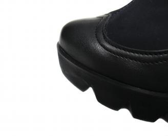 Дамски ботуши на платформа естествена кожа черни HVMX-20621