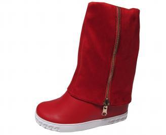 Дамски ботуши на платформа еко кожа /еко велур червени DIMQ-22056