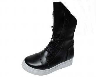 Дамски ботуши на платформа черни еко кожа MTES-22579