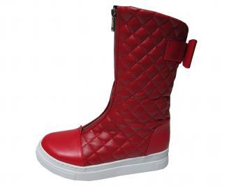 Дамски ботуши на платформа червени с бяло ходило от еко кожа XIWI-22580