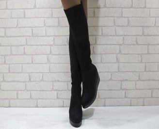 Дамски  ботуши на платформа  еко велур черни ILKG-24939