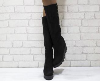 Дамски  ботуши на платформа  еко велур черни DGQM-24968