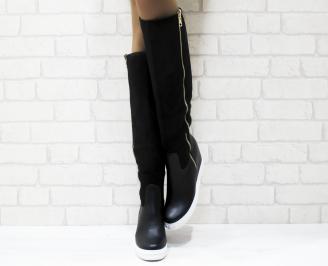 Дамски  ботуши на платформа  черни еко кожа/еко велур ZHZC-25227
