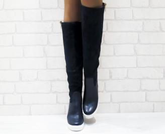 Дамски  ботуши на платформа сини еко кожа/еко велур JGDM-25230