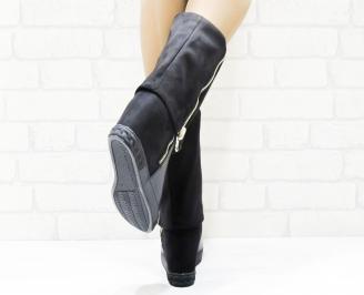 Дамски  ботуши на платформа  черни еко кожа/еко велур JOBB-25237