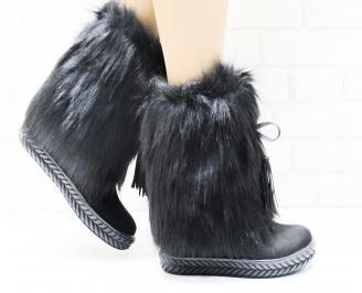 Дамски  ботуши на платформа  черни еко велур/естествен косъм VNFW-25327