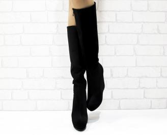 Дамски  ботуши на платформа  черни еко велур WINA-25432