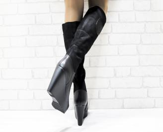 Дамски  ботуши на платформа  черни еко кожа/велур LPZM-25446