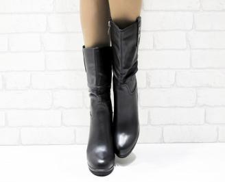Дамски  ботуши на платформа  черни еко кожа TAUE-25462