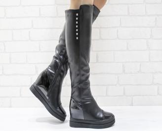 Дамски  ботуши на платформа  черни еко кожа CWAZ-25532