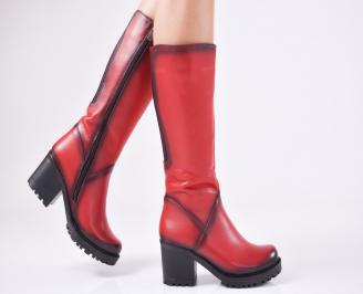 Дамски ботуши от естествена кожа червени DAEM-1010871