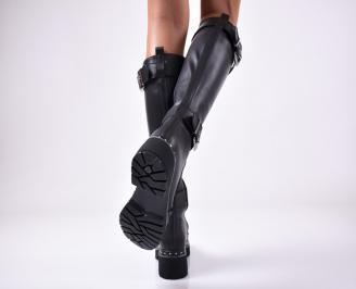 Дамски ботуши от естествена кожа черни JGXL-1013147