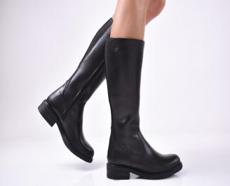 Дамски ботуши от естествена кожа черни MDLM-1013218