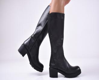 Дамски ботуши от естествена кожа черни TNYO-1013242