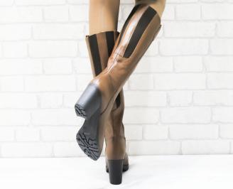 Дамски ботуши от естествена кожа кафяви HHXY-22673