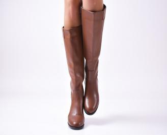 Дамски ботуши от естествена кожа кафяви MSQI-22674