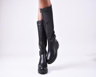 Дамски ботуши от естествена кожа черни QMPC-25539
