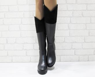Дамски ботуши от естествена кожа черни SHRC-25545