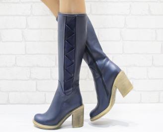Дамски ботуши от естествена кожа тъмно сини SECW-25546