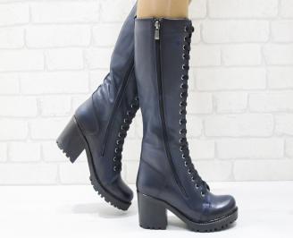 Дамски ботуши от естествена кожа тъмно сини PRXG-25549