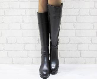 Дамски ботуши от естествена кожа черни FNEV-25550