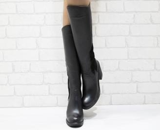 Дамски ботуши от естествена кожа черни VOEV-25551