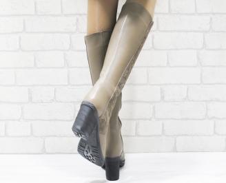 Дамски ботуши от естествена кожа кафяви BDSE-25552